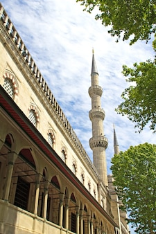 Minarete da mesquita azul, istambul, turquia