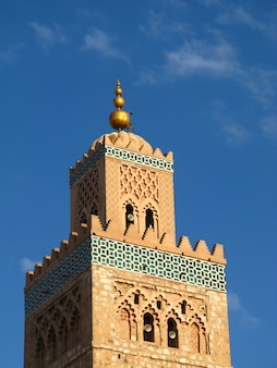 Minarete em marrakech, marrocos