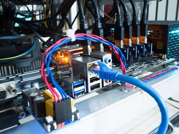 Mineiro de bitcoin criptomoeda foco em acessórios.