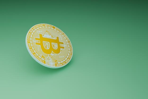 Mineração mínima de bitcoin em fundo verde, renderização de ilustrações 3d