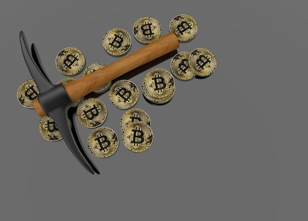Mineração pegar ferramenta de escavação com bitcoins crypto em fundo cinza