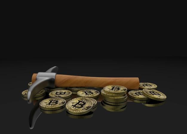 Mineração pegar ferramenta de escavação com bitcoins crypto no espaço de cópia fundo preto