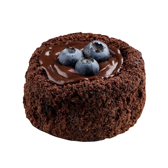 Mini bolo de fondant de chocolate e mirtilo isolado