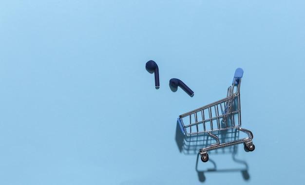 Mini carrinho de compras com fones de ouvido bluetooth sem fio