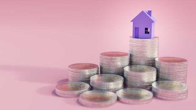 Mini casa na pilha de moedas.