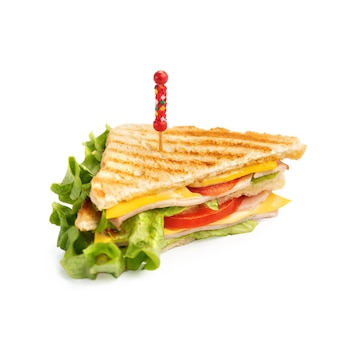 Mini sanduíches em fundo branco, para menu.