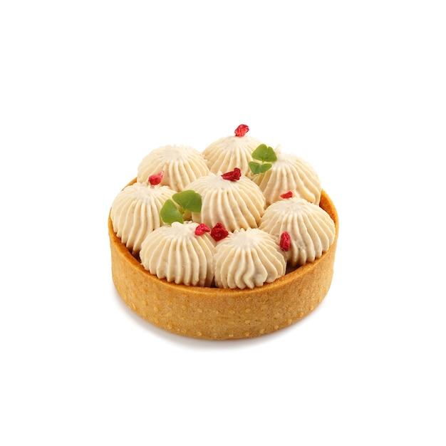 Mini torta com creme isolado