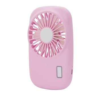 Mini ventilador rosa. ventilador portátil usb em fundo branco.