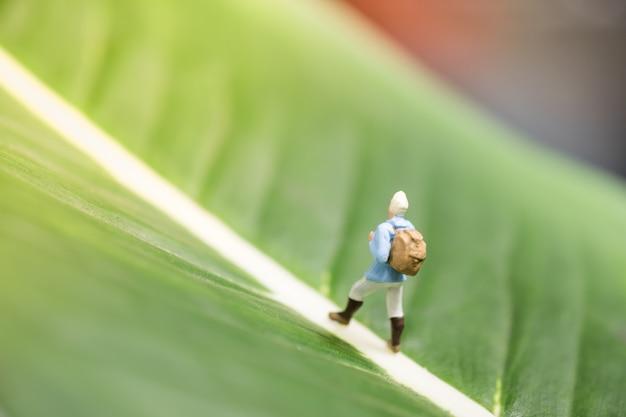 Miniaturas de viajante miniatura com carrinho de mochila e andando na folha verde