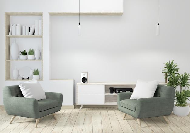 Minimalista moderna sala de estar zen com piso de madeira e decoração em estilo japonês