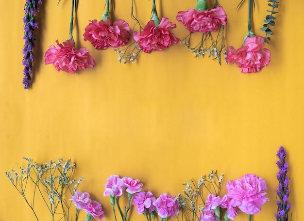 Mínimo quadro plano leigo com flores frescas de cravo