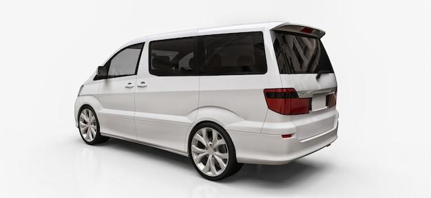 Minivan branca pequena para transporte de pessoas. ilustração tridimensional em um fundo branco brilhante