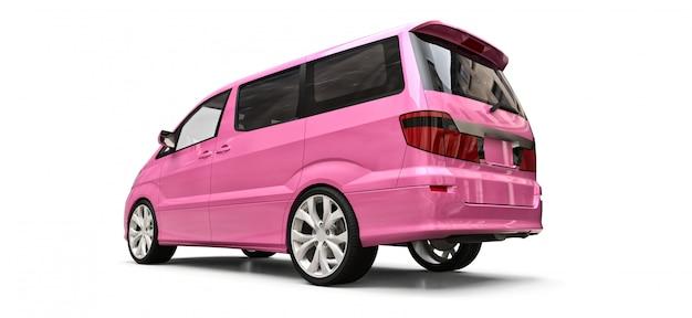 Minivan pequena rosa para transporte de pessoas. ilustração tridimensional em uma superfície branca brilhante