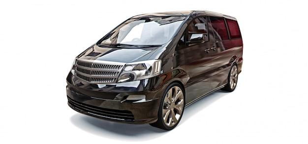 Minivan preta pequena para transporte de pessoas. ilustração tridimensional em um espaço cinza brilhante. renderização em 3d.