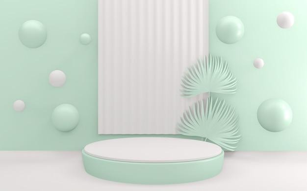 Mint cyan blue pódio design minimal design cena 3d render