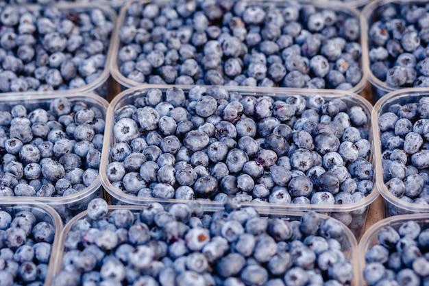 Mirtilo em caixa de recipiente transparente de plástico para o mercado do fazendeiro de venda frutas frescas. foco seletivo