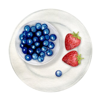 Mirtilos e morangos no prato fundo branco. mirtilo desenhado à mão. pintura em aquarela de bagas.
