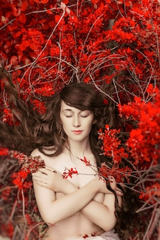 Misteriosa, imagem, de, um, mulher bonita, em, madeiras