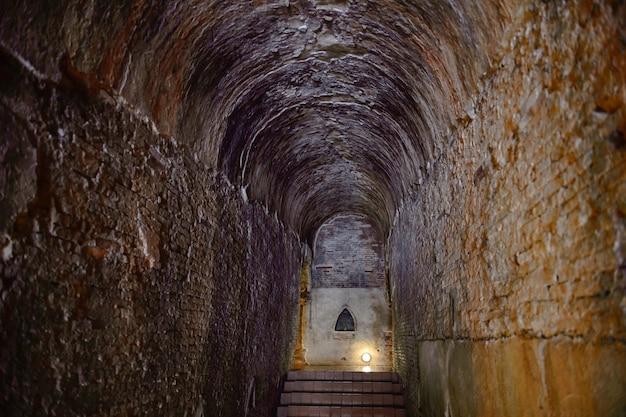 Místico, vista, de, antigas, pedregoso, escada, em, a, histórico, templo