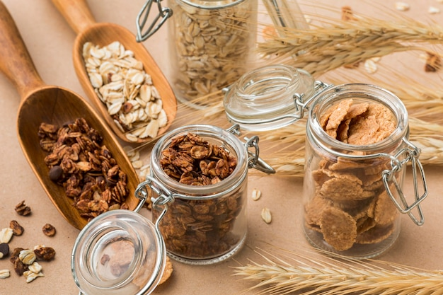 Mistura de cereais em close-up