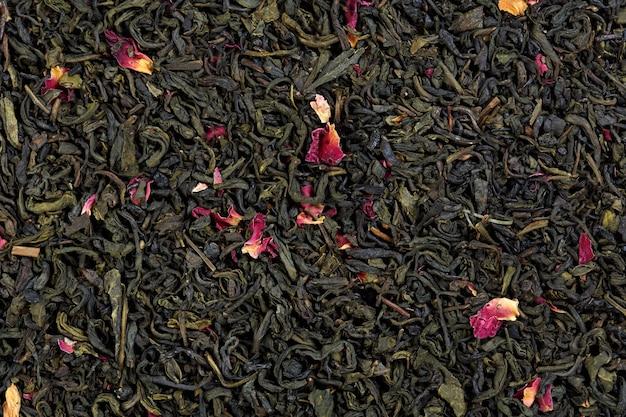 Mistura de chá de bergamota, pétalas de rosa, aromas cítricos. foto de alta resolução.
