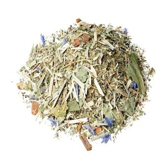 Mistura de chá de honeybush, folhas de amora-preta, capim-limão, hortelã fresca, pétalas de centáurea e canela.