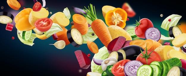 Mistura de diferentes vegetais em queda