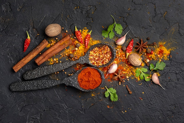 Mistura de especiarias de comida asiática plana leigos