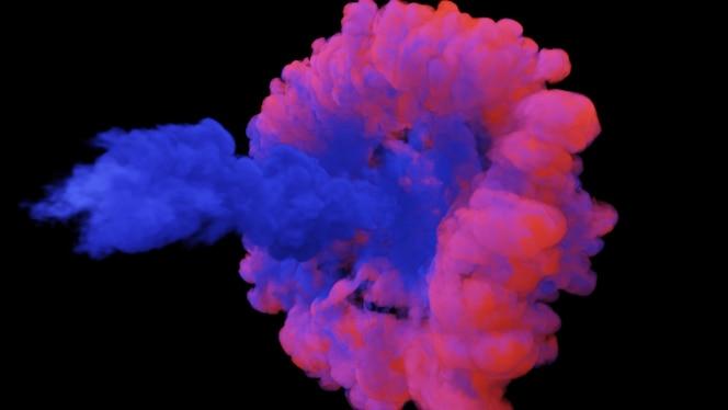 Mistura de fumaça colorida multicolorida e pó