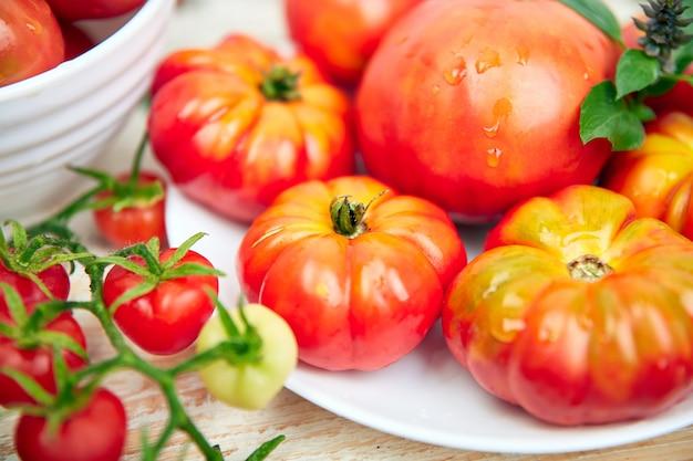 Mistura de fundo de tomates. tomates vermelhos orgânicos suculentos bonitos