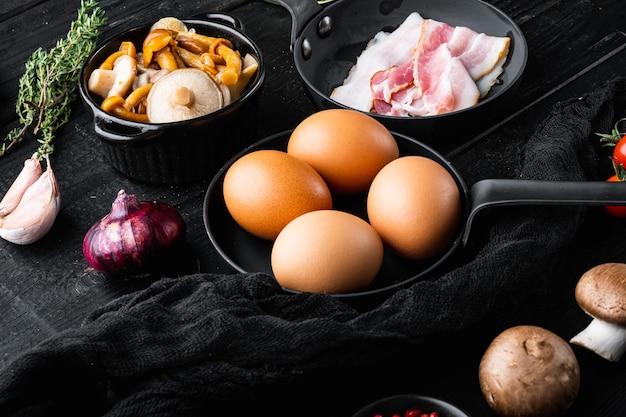Mistura de ingredientes de ovo para café da manhã