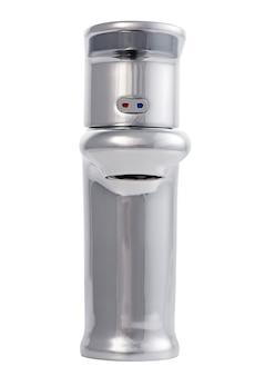 Misturador de água quente fria. banheiro moderno com torneira. torneira de cozinha. superfície branca isolada. vista frontal.