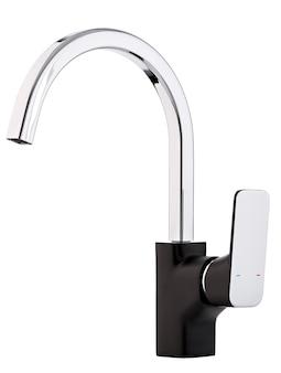 Misturador de água quente fria. banheiro moderno com torneira. torneira de cozinha. superfície branca isolada. vista lateral.