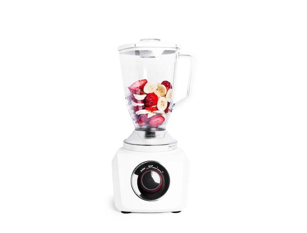 Misturador de smoothie com frutas isoladas. liquidificador para smoothie