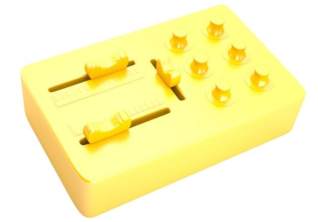 Mixer dj dourado isolado no fundo branco