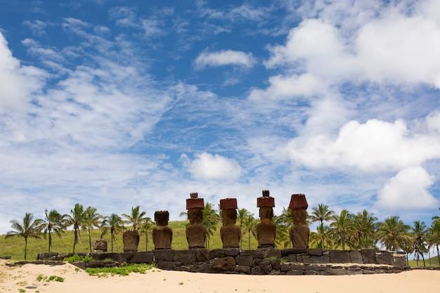 Moais, anakena beach, ilha de páscoa