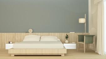 Mobília do espaço interior do quarto rendição 3d e decoração da parede do fundo