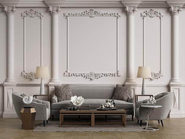 Mobiliário clássico em interior clássico com espaço de cópia. paredes com molduras ornadas. parquet de chão. ilustração digital.