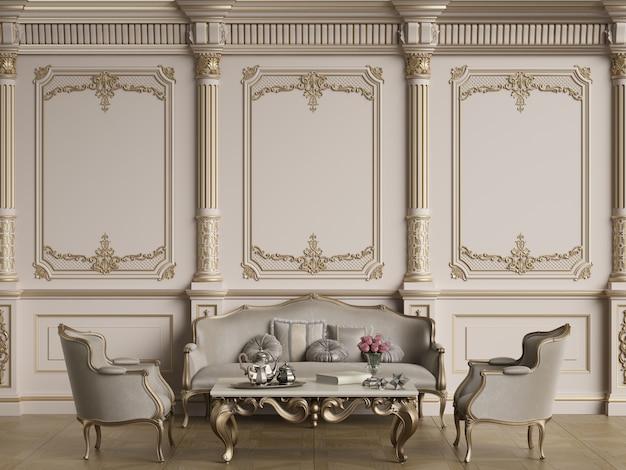 Mobiliário clássico em interior clássico, com espaço de cópia