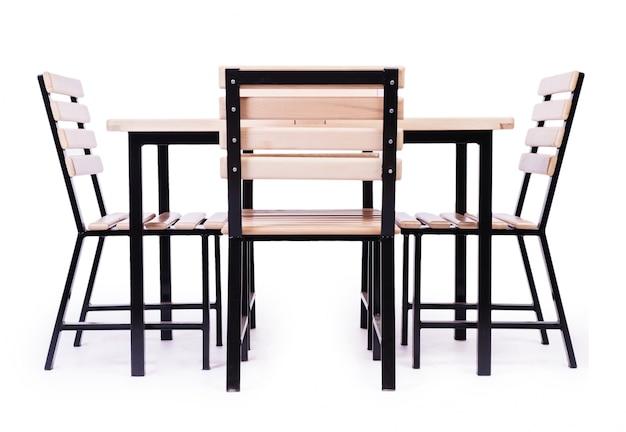 Mobiliário de mesa isolado no branco