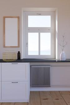 Mobiliário interior de sala com janela do radiador de aquecimento e moldura de madeira vazia na parede