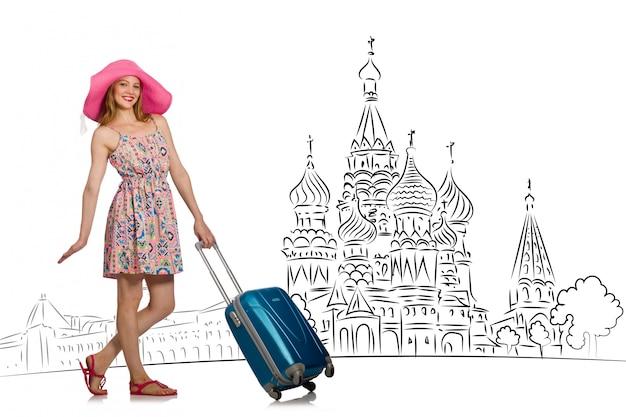 Moça no conceito do turismo a rússia