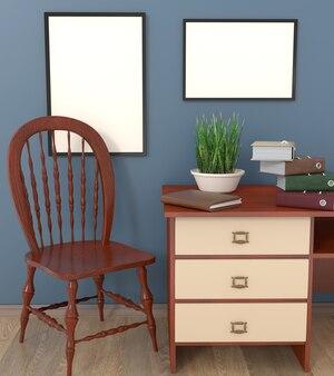Mocap escritório de contabilidade interior. armário com paredes azuis.