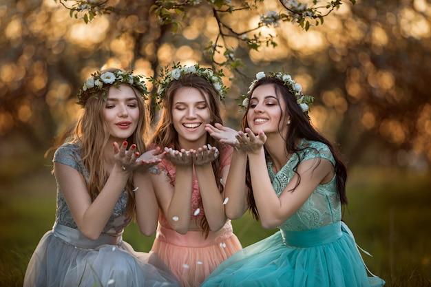 Moças bonitas entre as árvores de florescência.