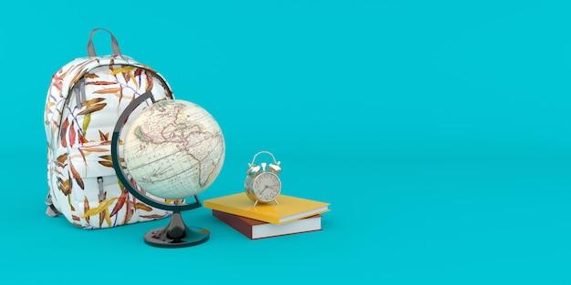 Mochila com livros, despertador e globo do mundo