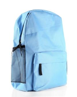 Mochila escolar azul, em branco