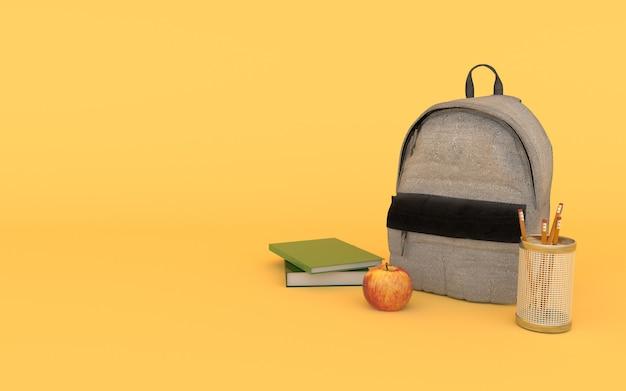 Mochila jeans cinza em amarelo com livros, maçã e lápis voltar para a escola 3d render