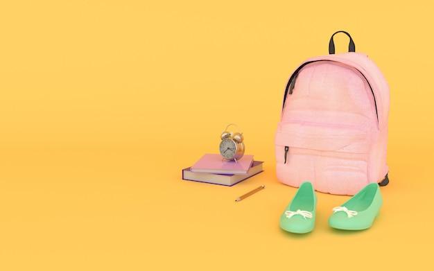 Mochila rosa com livros e sapatos