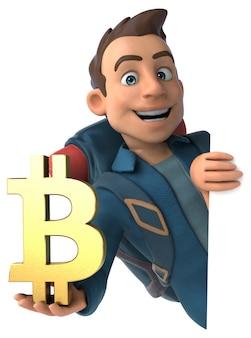 Mochileiro de desenho animado 3d com símbolo de bitcoin