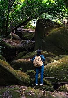 Mochileiro viagem na floresta tropical